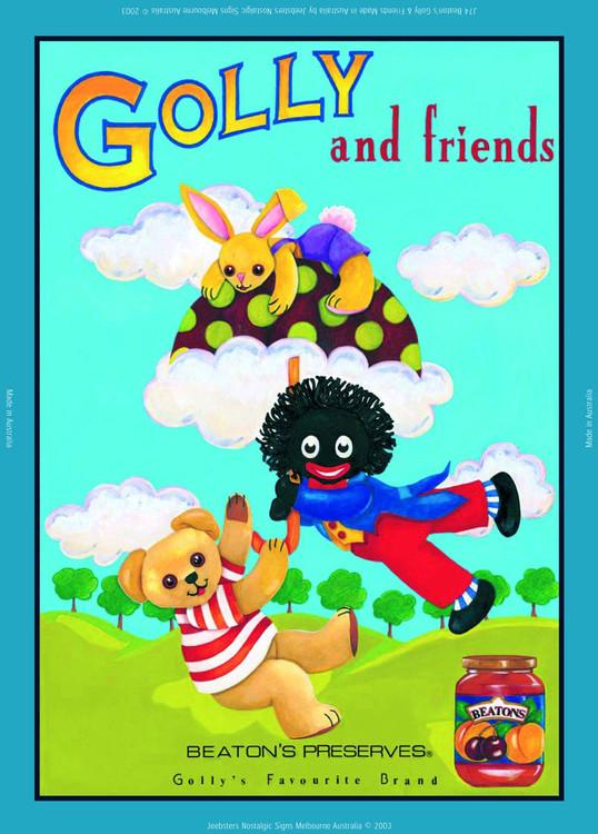 GOLLY AND FRIENDS Plaque métal décorée