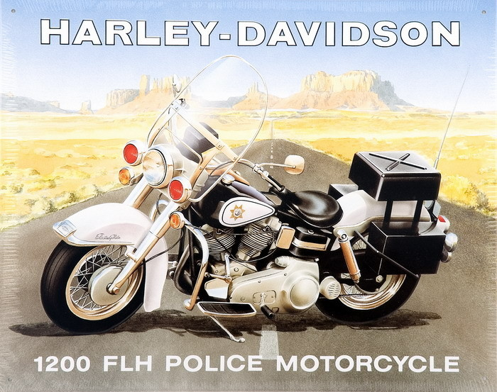 HARLEY POLICE Plaque métal décorée
