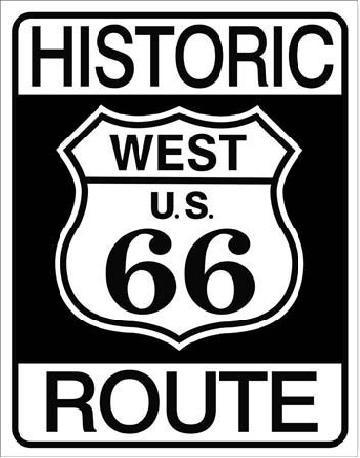 HISTORIC ROUTE 66 Plaque métal décorée