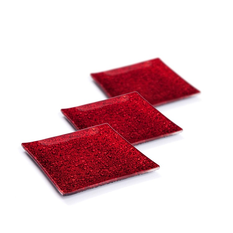 Candle Coasters Red 12 cm, set of 3 pcs Home Decor