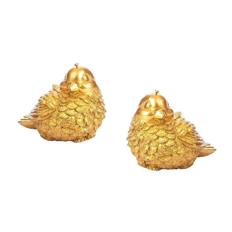 Candle Gold Bird, 11 cm, set of 2 pcs Home Decor