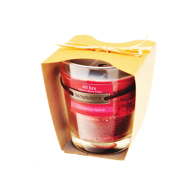 Candle in Glass-Cinnamon, Red, 10cm Home Decor