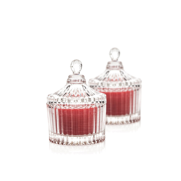 Candle in Glass-Cranberry+Cinnamon, Red 9 cm, set of 2 pcs Home Decor