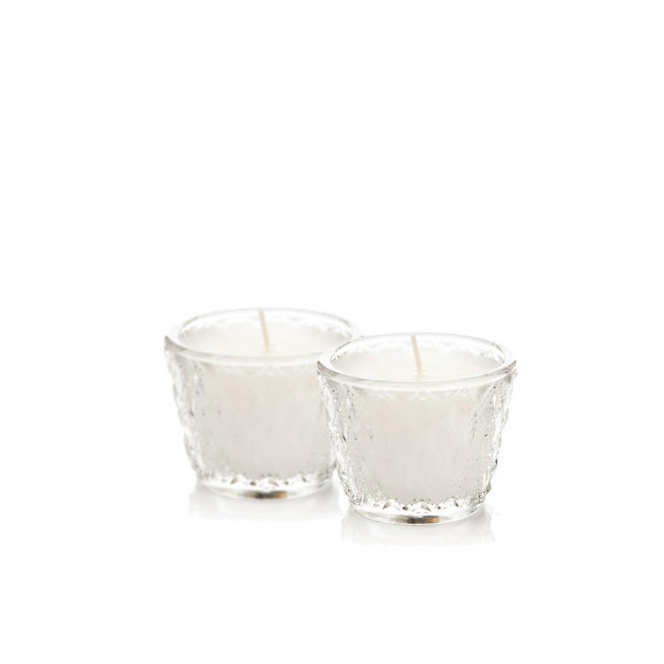 Candle in Glass - Vanilla, While 6 cm, set of 2 pcs Home Decor