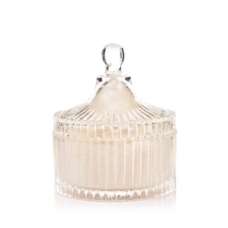 Candle with Lid Metal - Vanilla, White 12,5 cm Home Decor