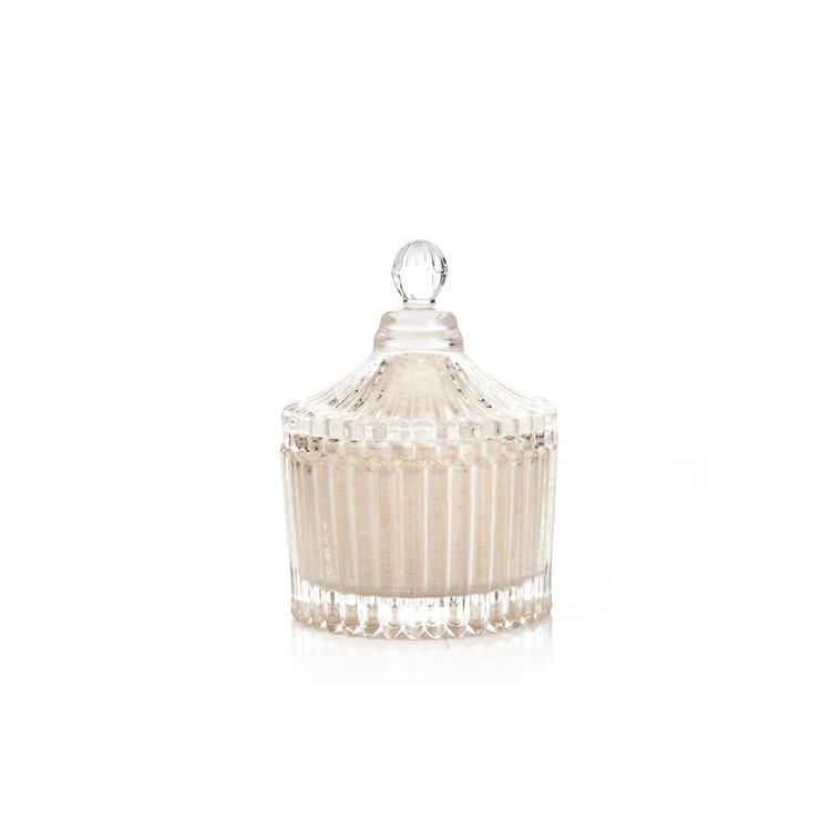 Candle with Lid Metal - Vanilla, White 9 cm Home Decor
