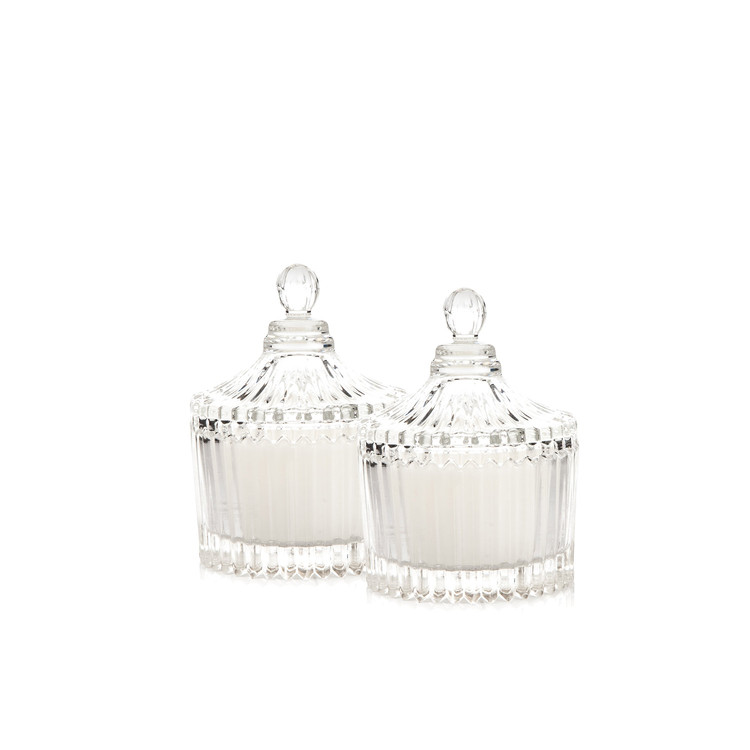 Candle with Lid - Vanilla, White 9 cm, set of 2 pcs Home Decor