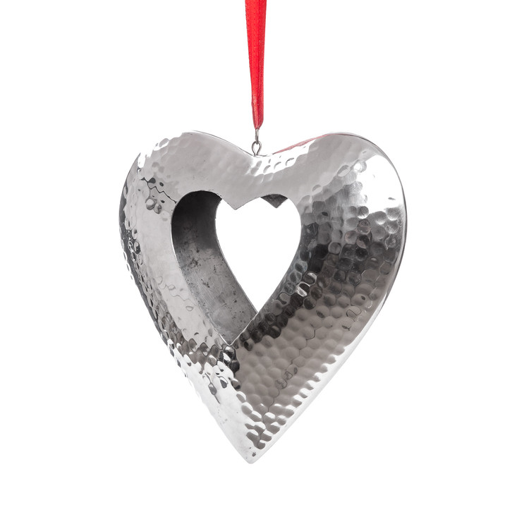 Hanging Candle Holder Heart Silver 23 cm Home Decor