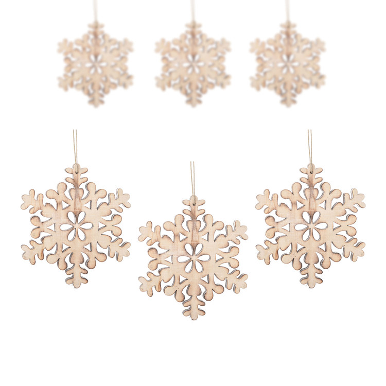 Hanging Wooden Snowflake, 15 cm, set of 6 pcs Home Decor