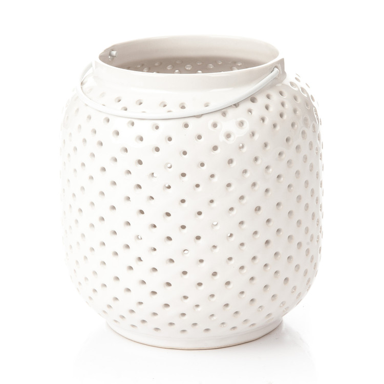 Lantern Holey, 14 cm White Home Decor