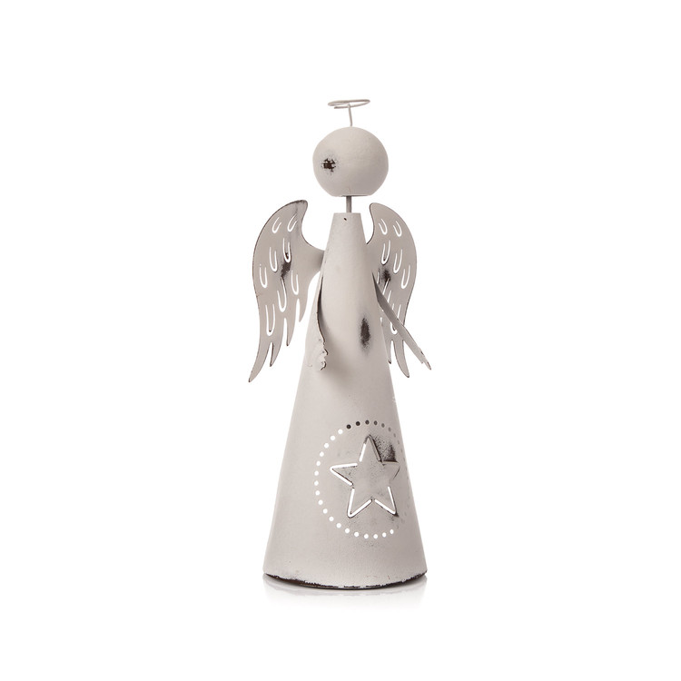 Metal Angel White with Star, 26 cm Home Decor