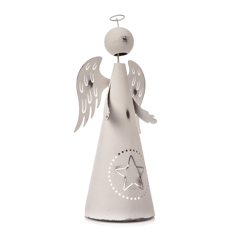 Metal Angel White with Star, 33 cm Home Decor