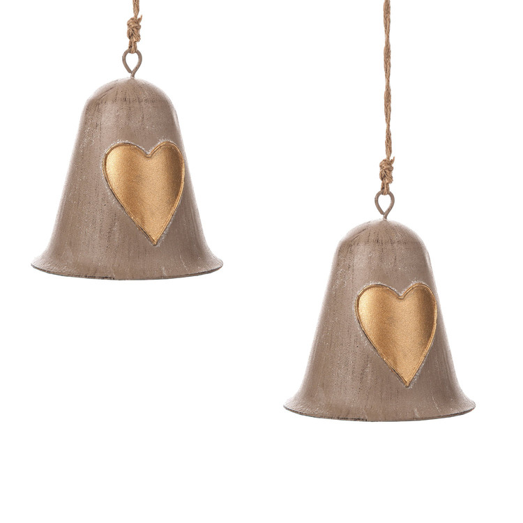 Metal Bell Gold Heart, 10 cm, set of 2 pcs Home Decor