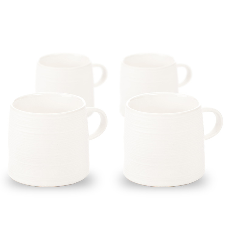 Mug Grainy Texture, 350 ml Matte White, set of 4 pcs Home Decor