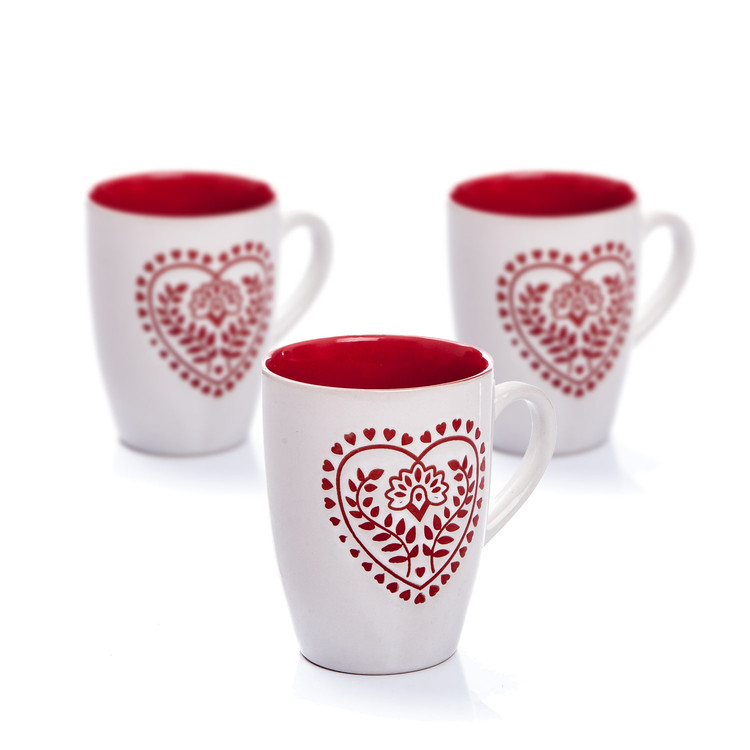 Mug White-Red Heart 300 ml, set of 3 pcs Home Decor
