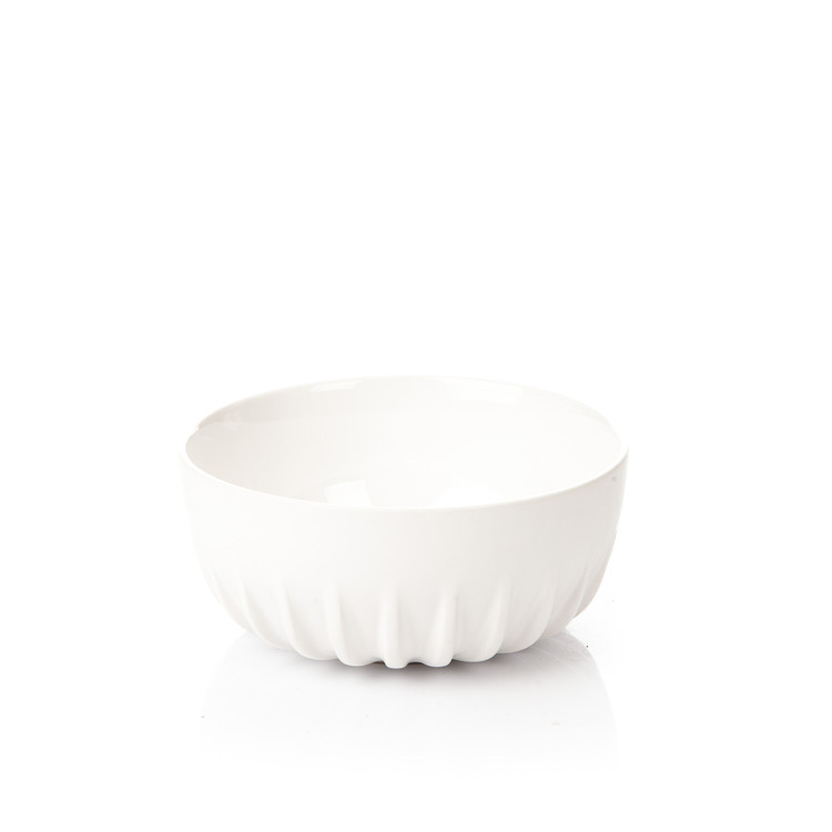 Salad Bowl Ribbed, Matte White Home Decor