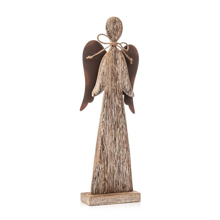Wooden Tall Angel with Bow Faded Paint, 30 cm Home Decor