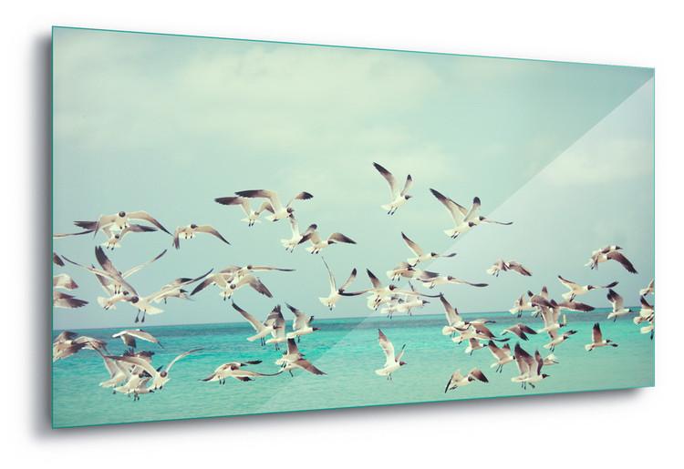 Glass Art  Vintage Seagulls