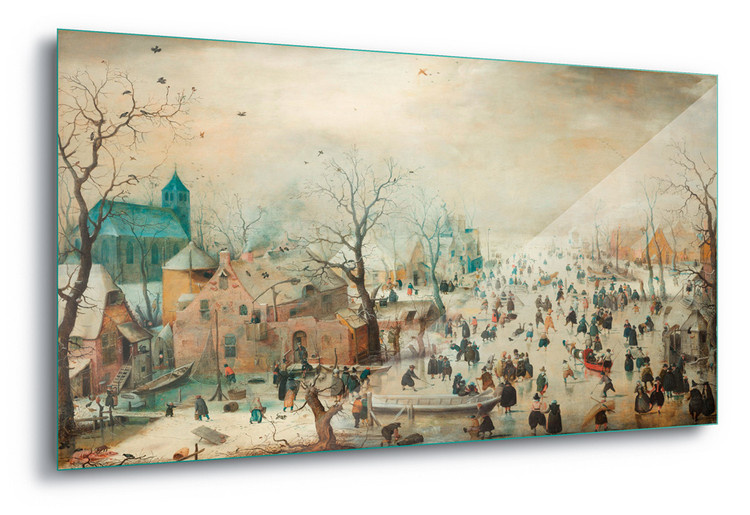 Glass Art  Winter Landscape With Skaters, Hendrick Avercamp
