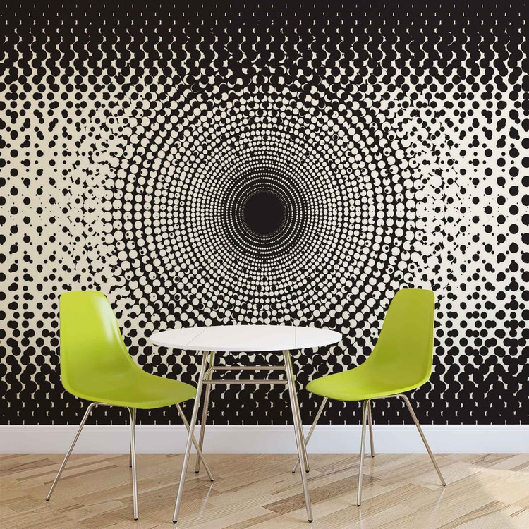 Wallpaper Mural Abstract Black White Dots