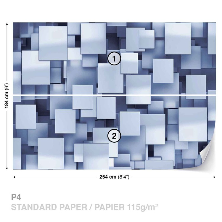 Wallpaper Mural Abstract Squares Modern Blue