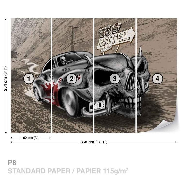 Wallpaper Mural Alchemy Death Hot Rod Car Skull