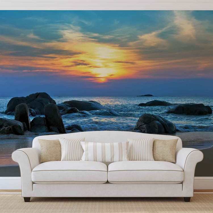 Wallpaper Mural Beach Rocks Sea Sunset Sun