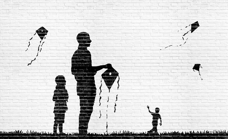 Wallpaper Mural Brick Wall Kites Kids Black White