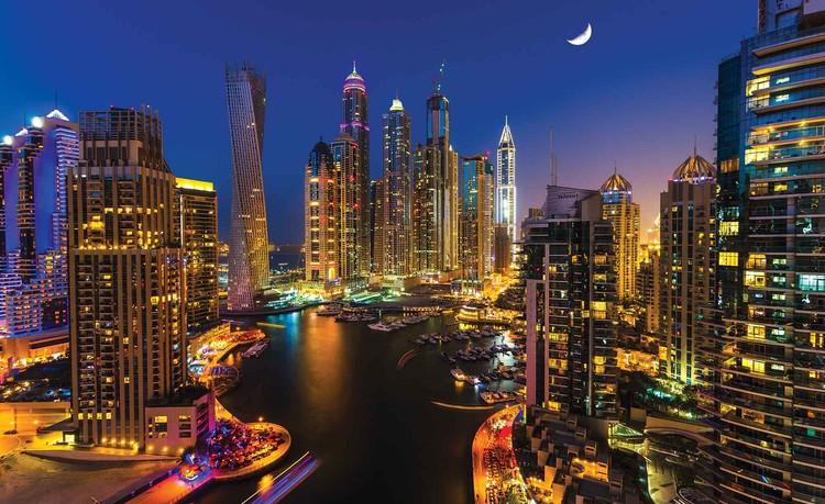 Wallpaper Mural City Dubai Skyscraper Night