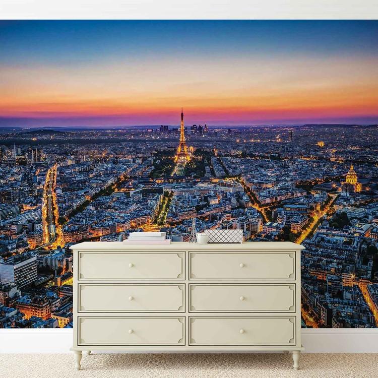 Wallpaper Mural City Paris Sunset Eiffel Tower
