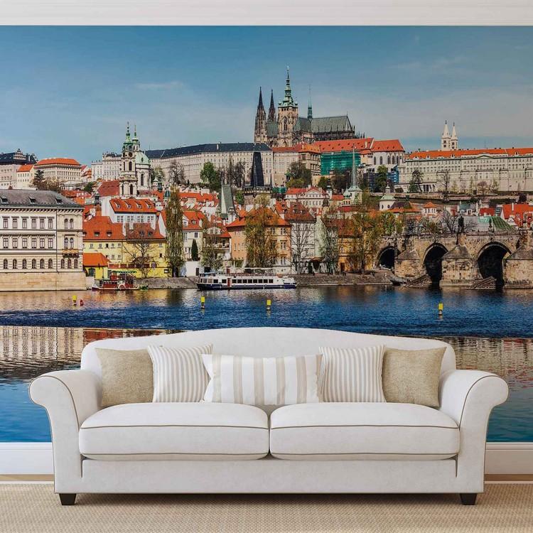 Wallpaper Mural City Prague Bridge River Cathedral