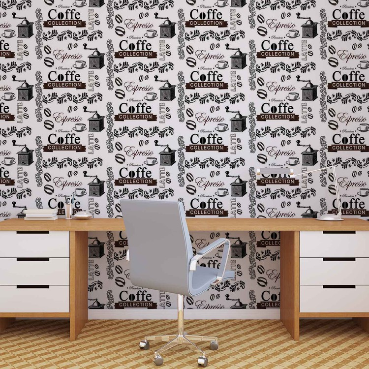 Wallpaper Mural Coffee Pattern