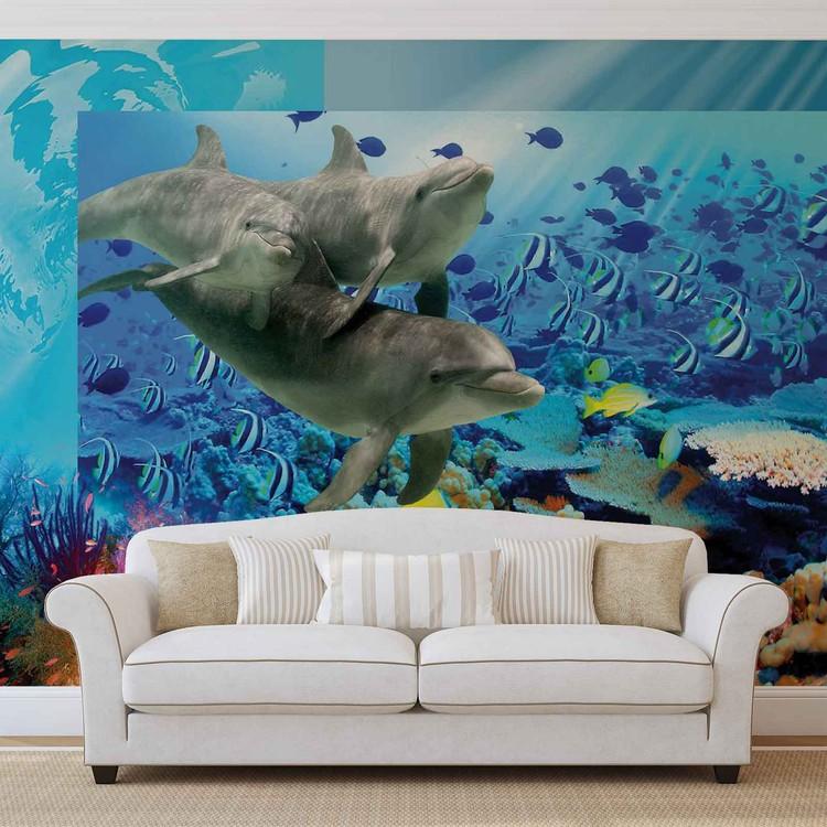 Wallpaper Mural Dolphins Tropical Fish