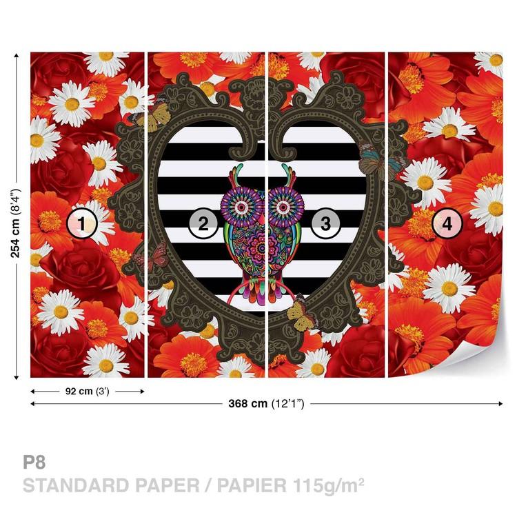 Wallpaper Mural Floral Heart Owl Red