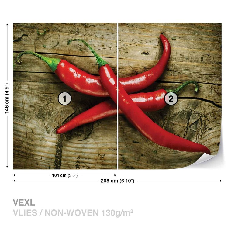 Wallpaper Mural Hot Chillies Food Wood