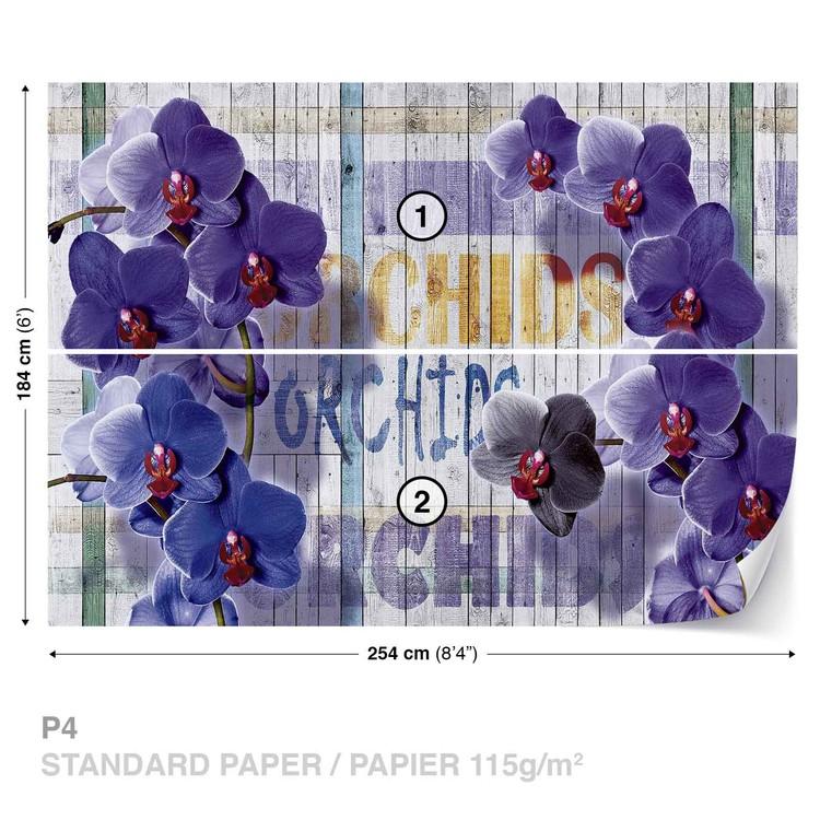 Wallpaper Mural Orchids Flowers Wooden Planks