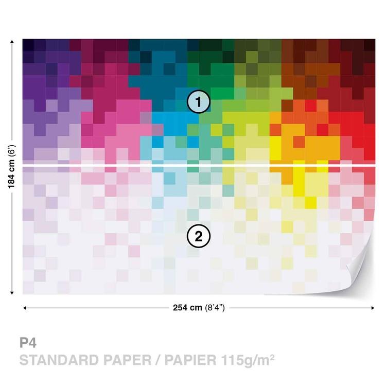 Wallpaper Mural Rainbow Pattern Pixel