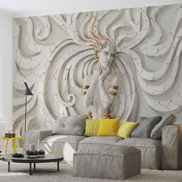 Wallpaper Mural Sculpture Yoga Woman Swirls Medussa