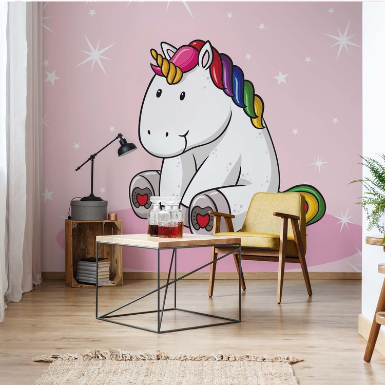 Wallpaper Mural Sweet Unicorn Pink