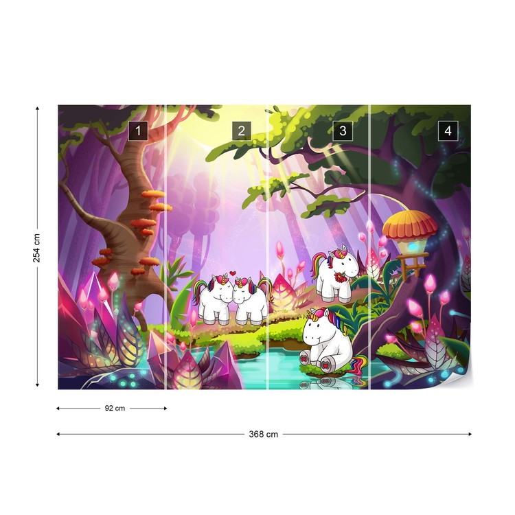 Wallpaper Mural Unicorns In The Forest