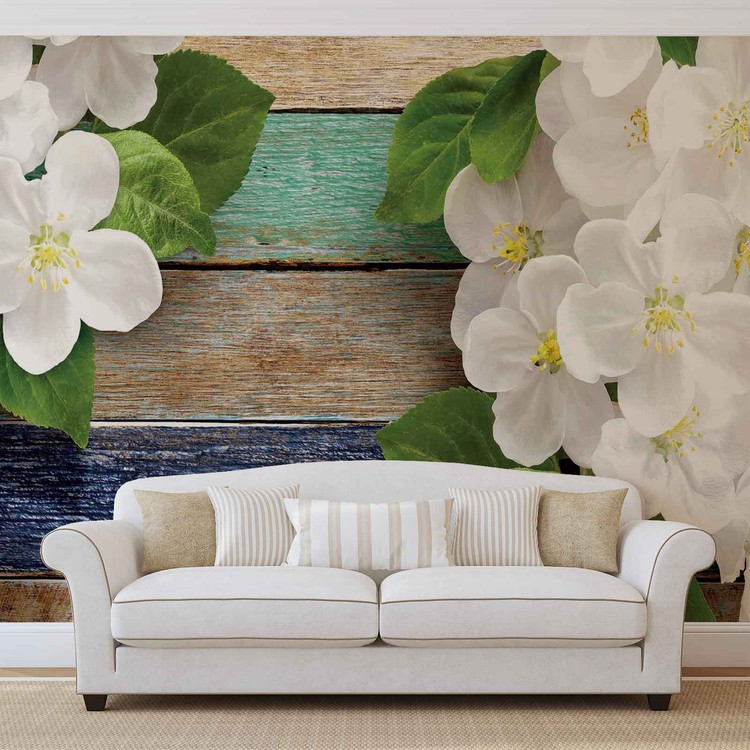 Wallpaper Mural Wood Fence Flowers