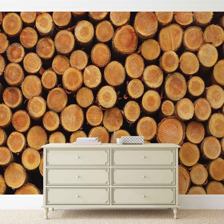 Wallpaper Mural Wood Texture Logs Nature