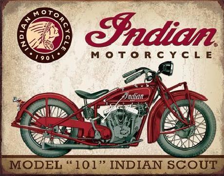 INDIAN MOTORCYCLES - Scout Model 105 Plaque métal décorée