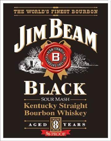 JIM BEAM - Black Label Plaque métal décorée