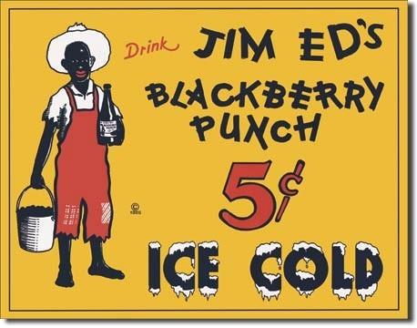 JIM ED'S BLACKBERRY PUNCH Plaque métal décorée