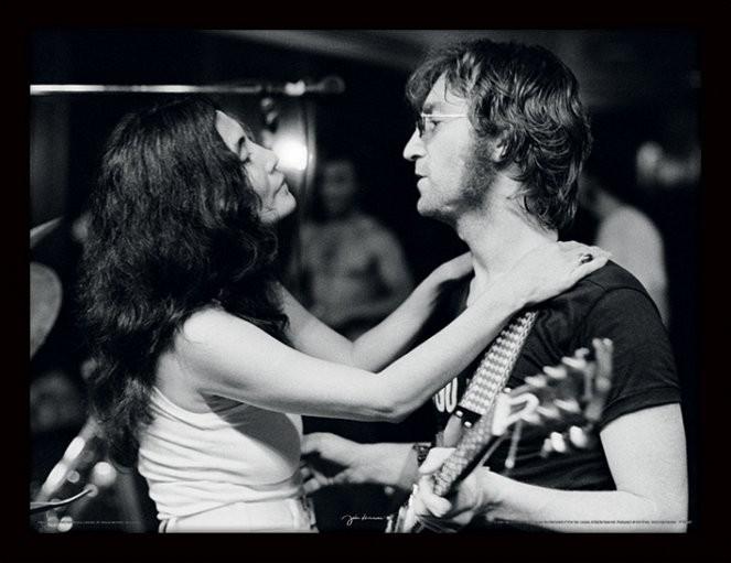 JOHN LENNON - John & Yoko / Bob Gruen Poster encadré en verre