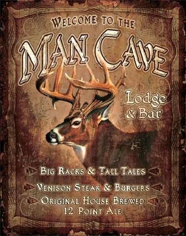 JQ - Man Cave Lodge Plaque métal décorée