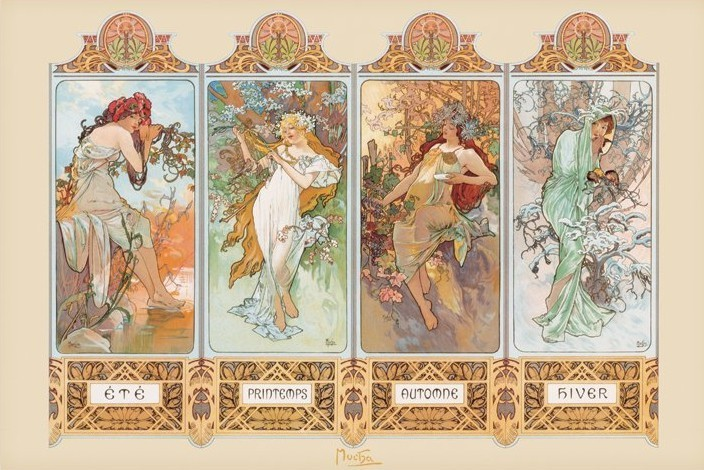 Juliste Alfons Mucha – four seasons