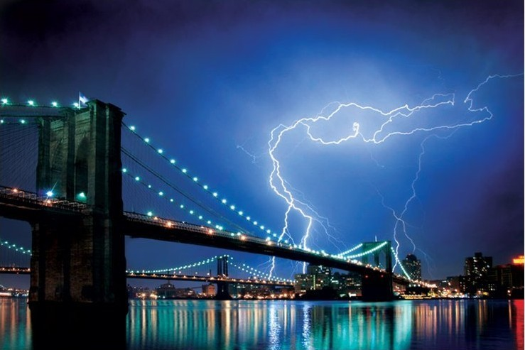 Juliste Brooklyn bridge - lightning
