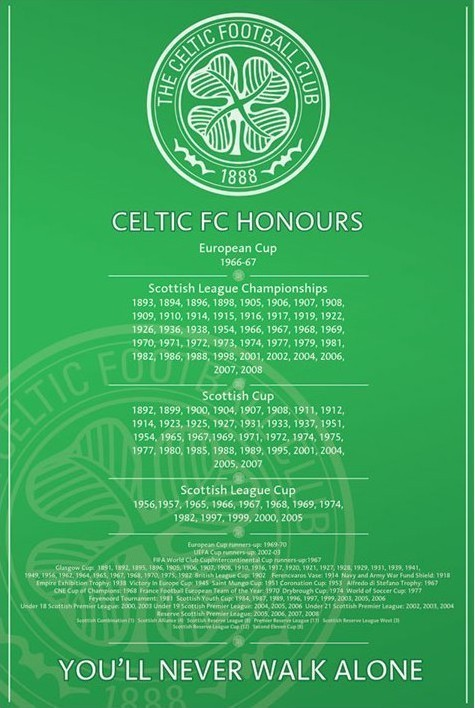 Juliste Celtic - honours